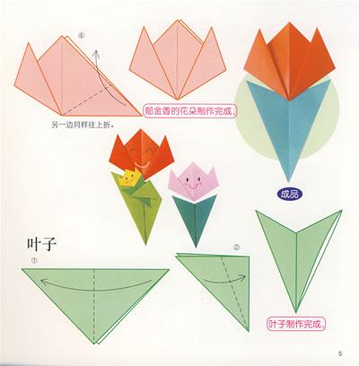 郁金香折纸步骤图片